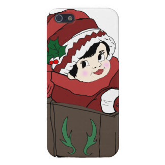 little girl in red hat and sleigh case for iPhone SE/5/5s