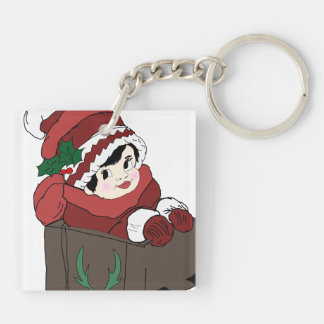 Little Girl in Red Scarf & hat in sleigh Keychain