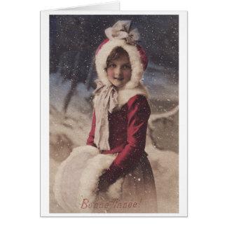 Little Girl in Santa Costume Christmas postcard