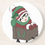 little girl in sleigh beverage coasters
