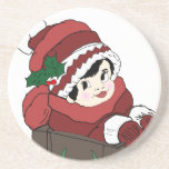 Little Girl in Sleigh Drink Coasters