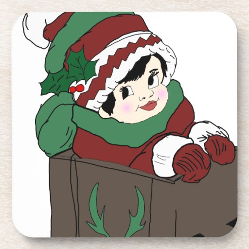 Little Girl in Sleigh in Red and Green Beverage Coaster