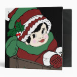 Little Girl in Sleigh in Red and Green 3 Ring Binder