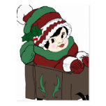 Little Girl in Sleigh in Red and Green Postcard
