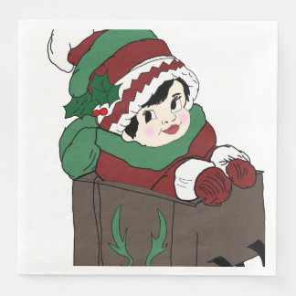 little girl in sleigh paper dinner napkin