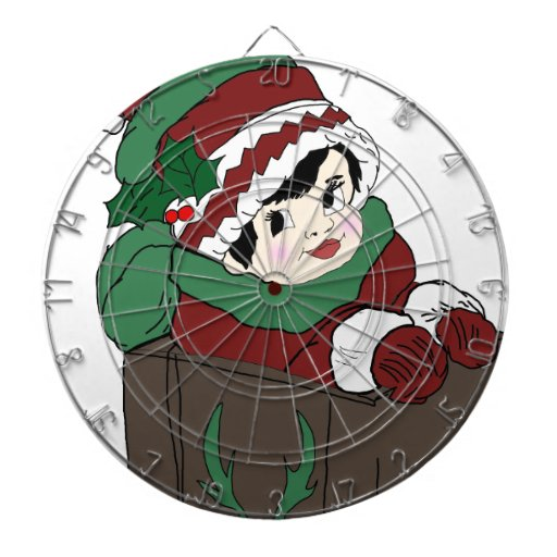 Little Girl in Sleigh Red and Green Dartboard