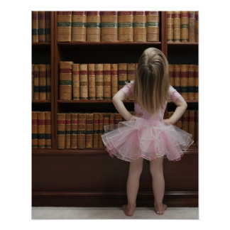 little girl in tutu reading book covers in poster