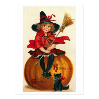 Little Girl in Witch Costume Postcard