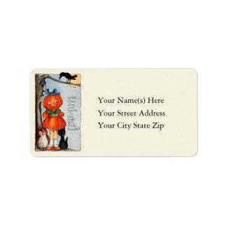 Little Girl Jack O Lantern Vintage Address Label