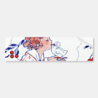 Little girl kissing a baby chick or duck bumper sticker