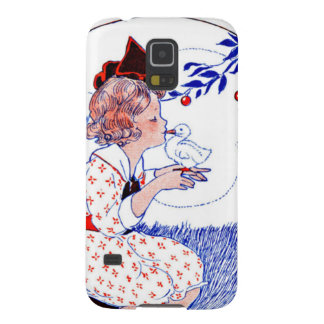 Little girl kissing a baby chick or duck galaxy s5 cover