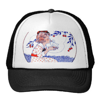 Little girl kissing a chick or duck trucker hat