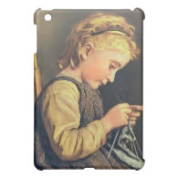 Little Girl Knitting iPad Mini Cover