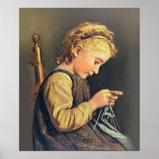 Little Girl Knitting Print