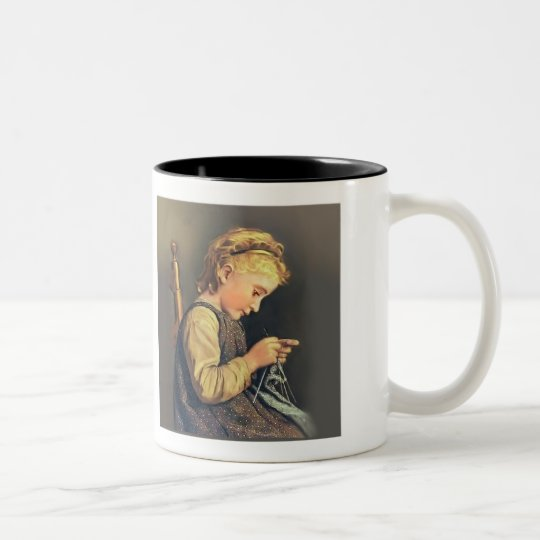 Little Girl Knitting Two-Tone Coffee Mug