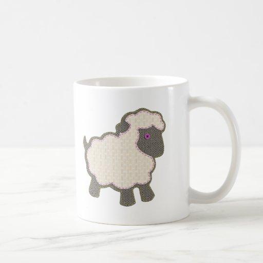 Little Girl Lamb Applique Coffee Mugs