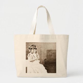 Little Girl Listening to Radio with Headphones Large Tote Bag