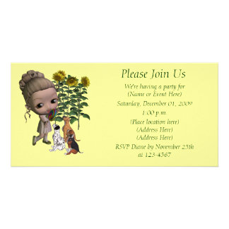 Little Girl Lollipop Puppies Cute Invitation