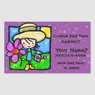 Little Girl loves nature and flowers PURPLE Rectangular Stickers