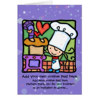 Little Girl loves to bake bread Card