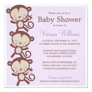LITTLE GIRL MONKEYS | BABY SHOWER INVITATION