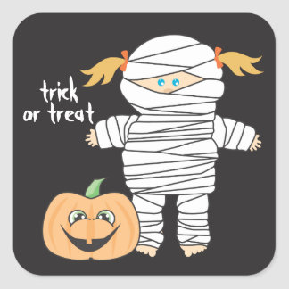 Little Girl Mummy with cute little Pumpkin Square Stickers
