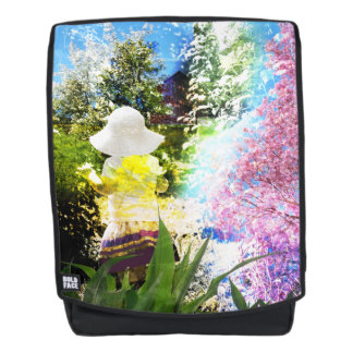 Little Girl Nature Collage Pink Flower Blue Yellow Backpack