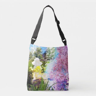 Little Girl Nature Collage Pink Flower Blue Yellow Crossbody Bag