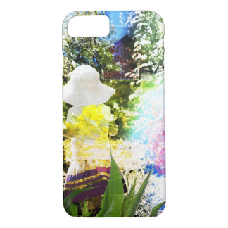 Little Girl Nature Collage Pink Flower Blue Yellow iPhone 8/7 Case
