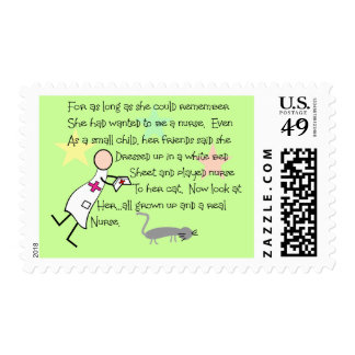 """""""Little Girl Nurse"""" Story--Unique Gifts Postage Stamps"""