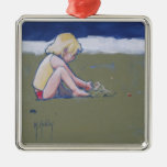 Little Girl on Beach Playing in Sand Metal Ornament