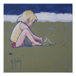 Little Girl on Beach Playing in Sand Poster