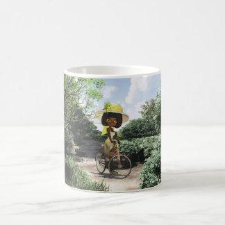 Little Girl on Footpath Riding a bike Coffee Mug