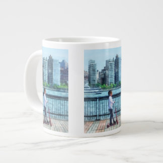 Little Girl on Scooter by Manhattan Skyline Large Coffee Mug