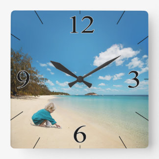 Little Girl on the Beach with Seashells Square Wall Clocks