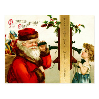 Little Girl on the Phone with Santa Claus Postcard