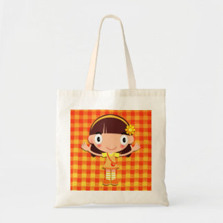 Little Girl on Yellow and Orange Gingham Tote Bag