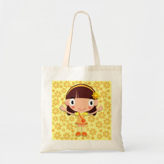 Little Girl on Yellow Floral Tote Bag
