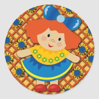 Little Girl Orange and Yellow Floral Sticker