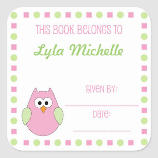 Little girl owl book plate label for baby showers sticker