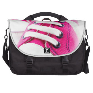 Little girl pink shoes sneakers laptop commuter bag