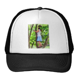 Little Girl Playing in Tree Mesh Hats