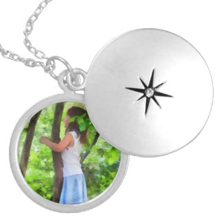 Little Girl Playing in Tree Round Locket Necklace