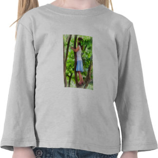 Little Girl Playing in Tree T Shirts
