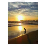 Little Girl Playing on the Beach at Sunset Card