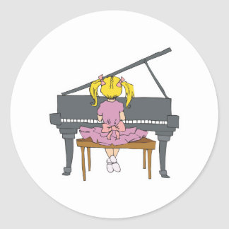 little girl playing piano classic round sticker