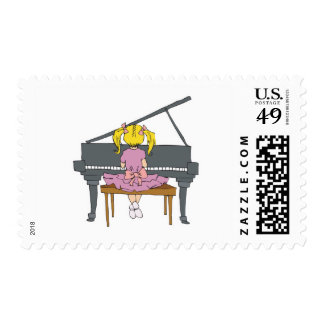 little girl playing piano postage stamp