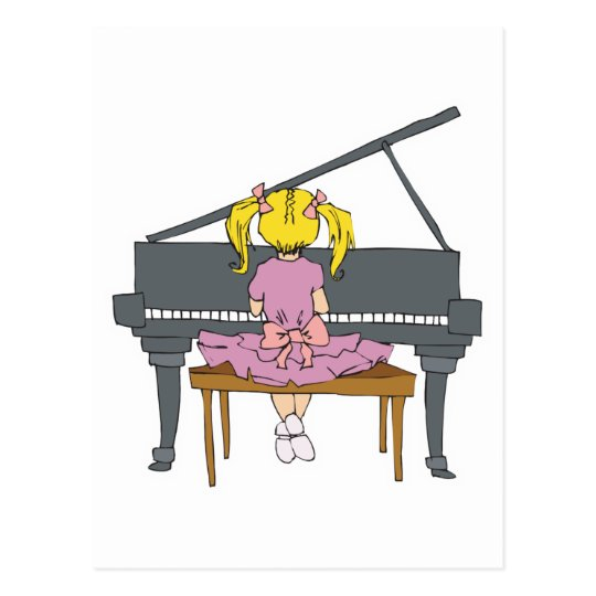 little girl playing piano postcard