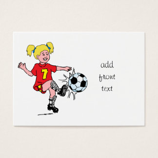Little Girl Playing Soccer Business Card