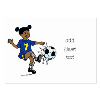 Little Girl Playing Soccer Business Card Templates